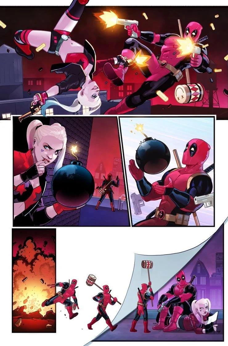 Marvel против DC: Дэдпул сразился с Харли Квинн
